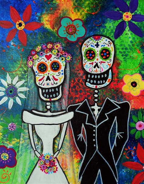 Wedding Couple Day Of The Dead Painting By Pristine