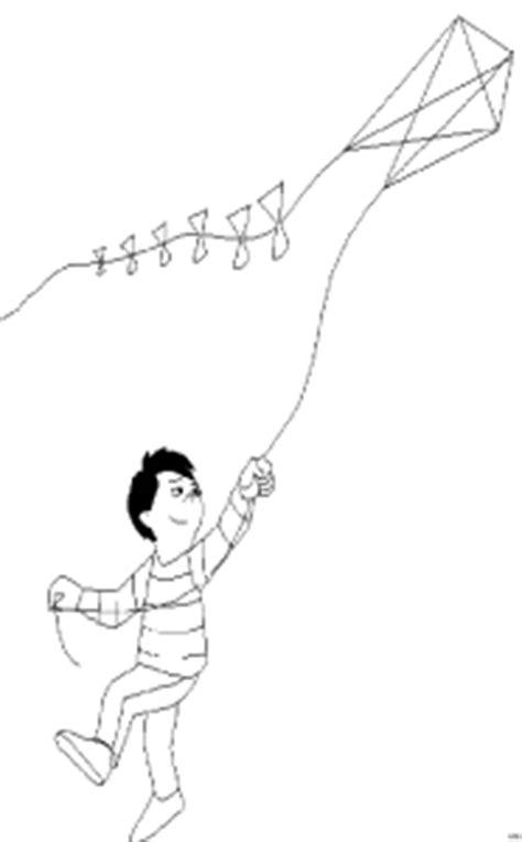 junge laesst drachen steigen  ausmalbild malvorlage sport