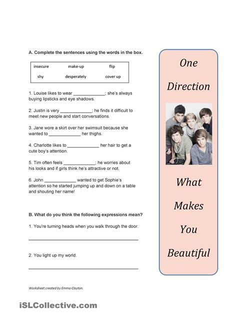 b1 adjectives and adverbs song worksheet what makes you