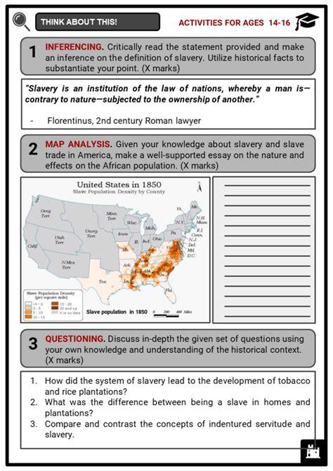 history  slavery facts worksheets summary evolution