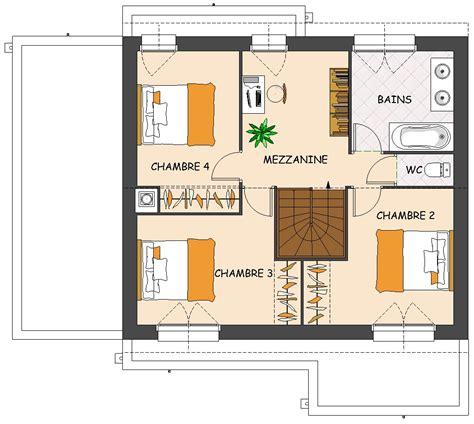 plan maison 1 騁age 3 chambres plan maison moderne avec mezzanine maison moderne