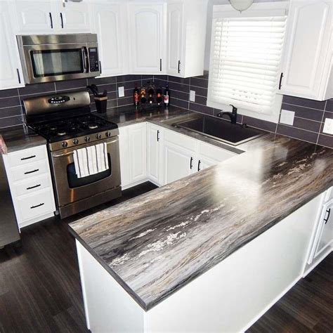 Black Laminate Countertops by The Visuals On This Kitchen Makeover Are