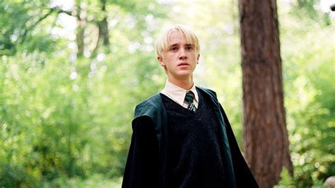 draco malfoy  blur forest background wearing green dress