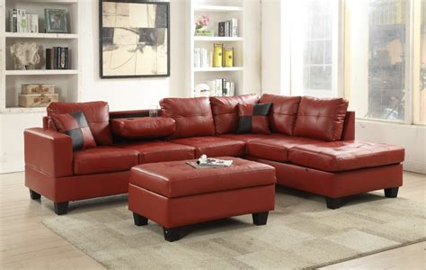 red faux leather sectional  red sectional sofas price busters furniture
