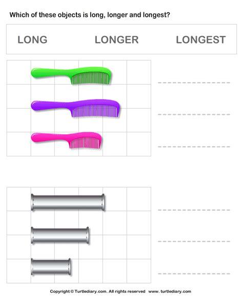 1st grade measurement worksheet comparing length of