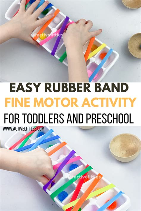 easy rubber band fine motor activity  toddlers