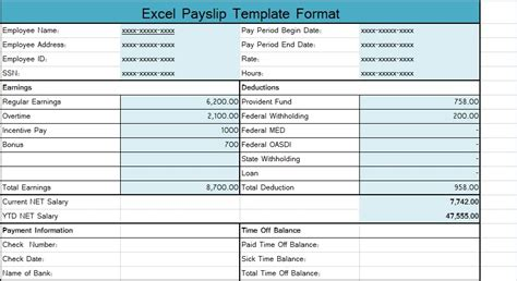 excel payslip template format excel spreadsheet