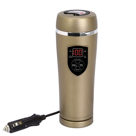 This affordable electric mug warmer from mr. Car Heated Coffee Travel Mug car coffee Warmer 12V(Gold)