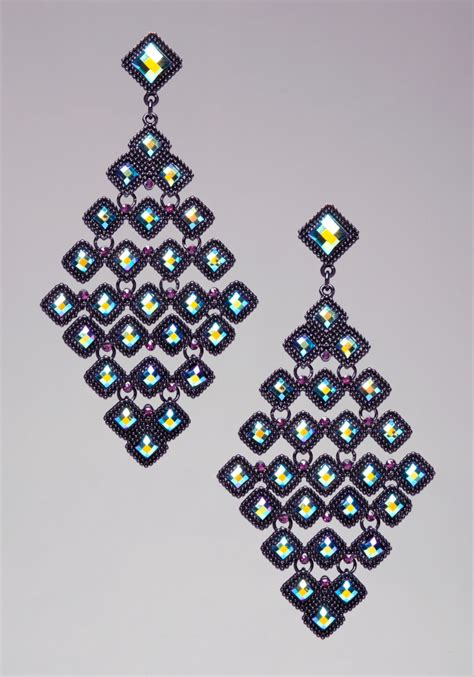 bebe chandelier earrings in black jet lyst