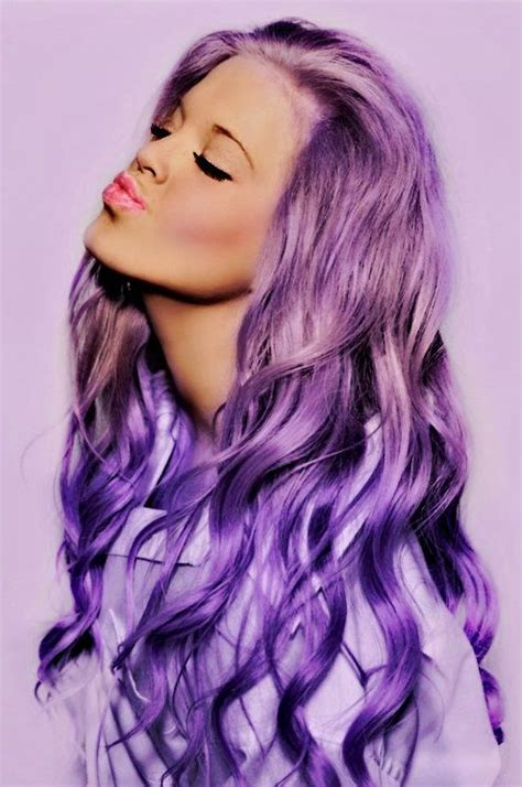 Long Purple Dyed Hair Purple Pinterest