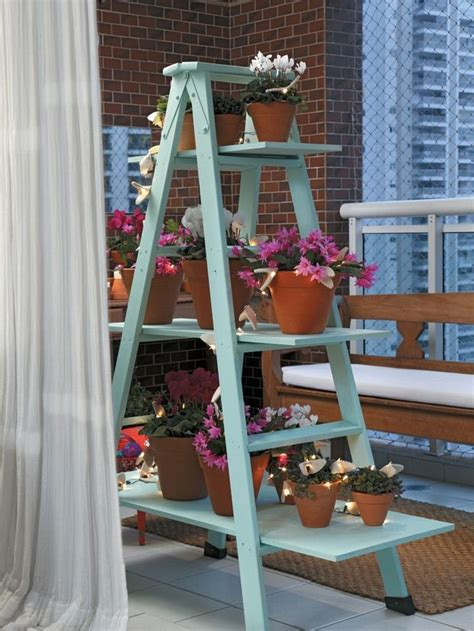 upcycled ladder shelves  creative display ideas plant