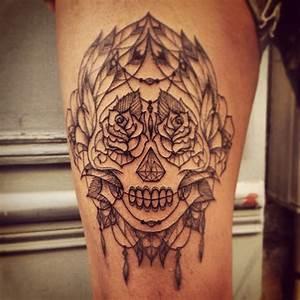 Tete De Mort Mexicaine Femme : tatouage t te de mort mexicaine graphique inkage ~ Melissatoandfro.com Idées de Décoration