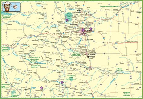 large detailed map  colorado  cities  roads
