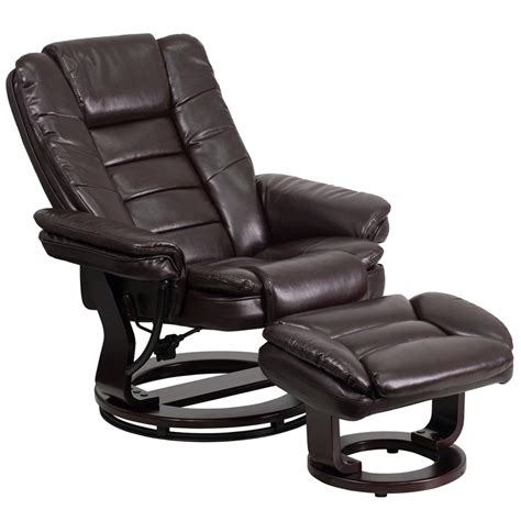 Contemporary Leather Recliner And Ottoman by Contemporary Leather Recliner And Ottoman With Swiveling