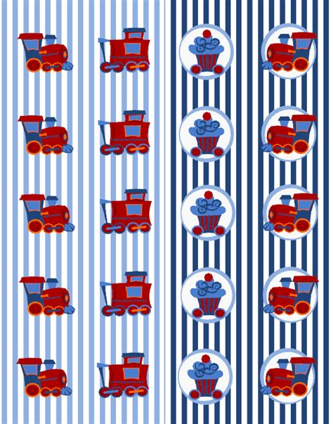 cupcake train party set labels printables