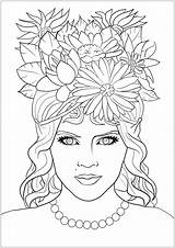 Coloring Adults Flowers Fancy Face Fantasy Elf sketch template