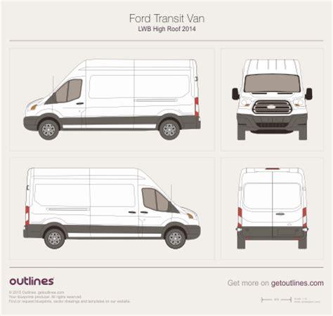 ford transit van lwb high roof van drawings