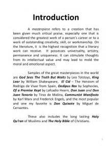 world literature sample masterpieces summary