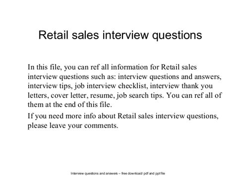 Retail Questions by Retail Sales Questions