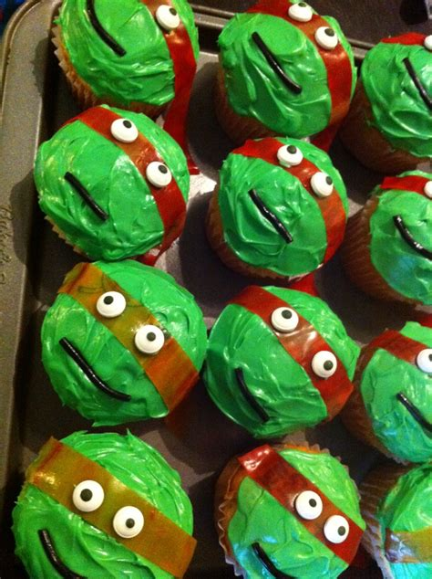 teenage mutant ninja turtle cupcakes orange  red fruit roll ups   mask cut  long