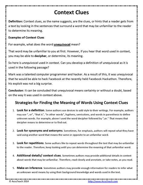 reading comprehension  grade context clues