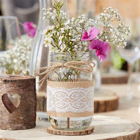hochzeit vintage deko deko glas vintage mit jute und spitze 6 5 x 12 cm weddix de