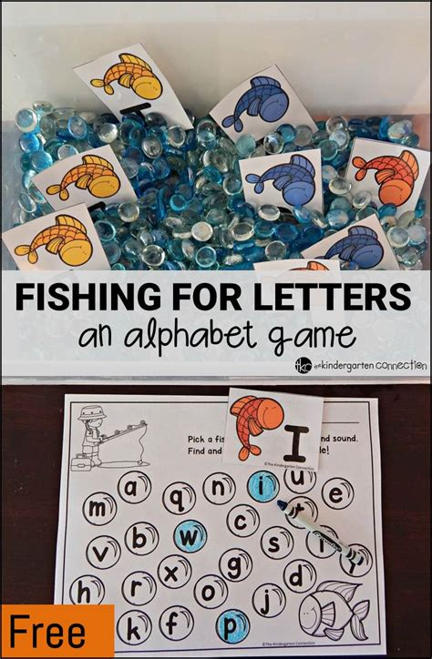 fishing for letters an alphabet the kindergarten 782 | fishing for letters alphabet game pin