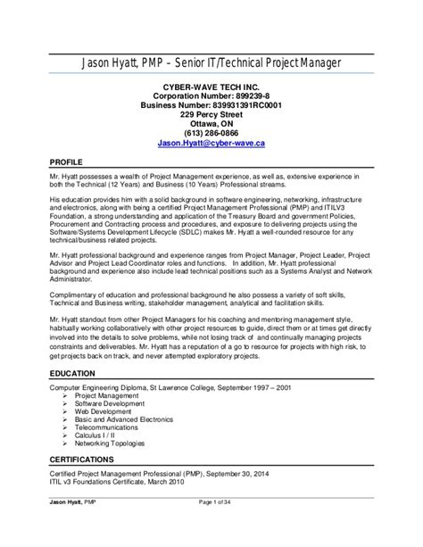 78 project management resume sle 42 best best