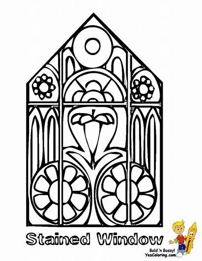 Easter Stained Coloring Glass Window Pages Clipart