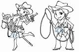 Cowgirl Cowboy Coloring Pages Getdrawings sketch template