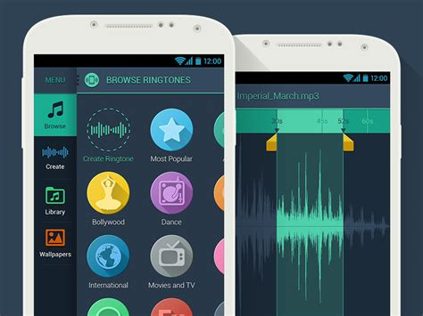 android ringtones flat dribbble inspiration javascript interface user app enabled designbump designers