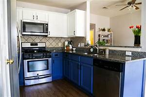 blue white kitchen cabinets love renovations With what kind of paint to use on kitchen cabinets for www wall art