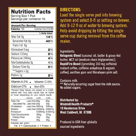 When there is a negative. Rapid Fire Ketogenic Coffee Nutrition Facts - NutritionWalls