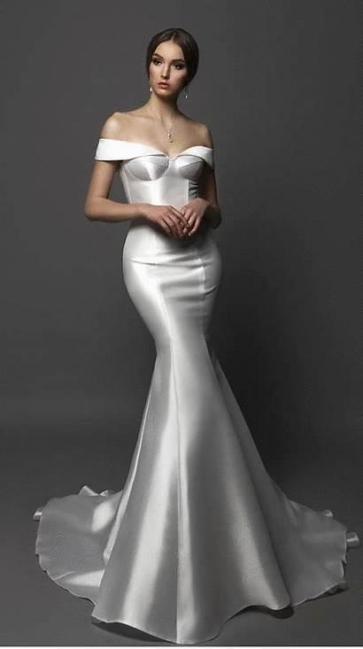 Satin Dresses Bridal Mermaid Shoulder Backless Gowns