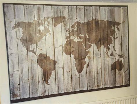 ikea driftwood world map picture large canvas  walsall