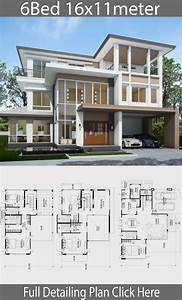 Home, Design, Plan, 16x11m, With, 6, Bedrooms