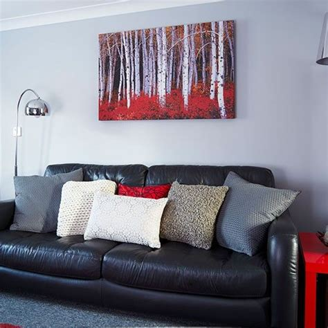 Wohnzimmer Grau Rot by Modern Grey And Living Room Mobil Home Black Sofa