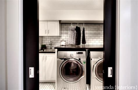 Black And White Modern Laundry Room With Modern Washing