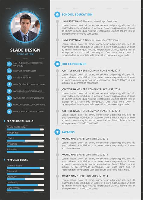 slade professional quality cv resume template