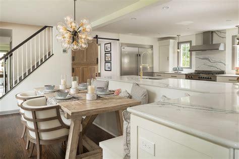 bright modern kitchen   shaped island  built