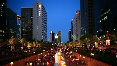 Lights Background Korea Seoul Night South Asia
