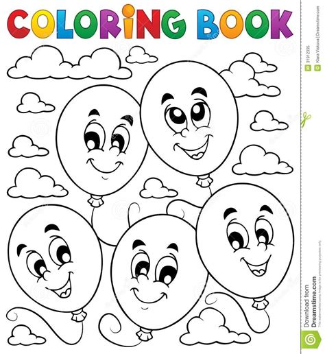 coloring book balloons theme  stock vector image
