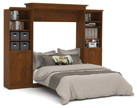 115 In. Queen Wall Bed With Storage Units In Tuscany Brown