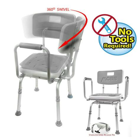 what is a shower chair new mobb swivel shower chair w padded seat adjustable