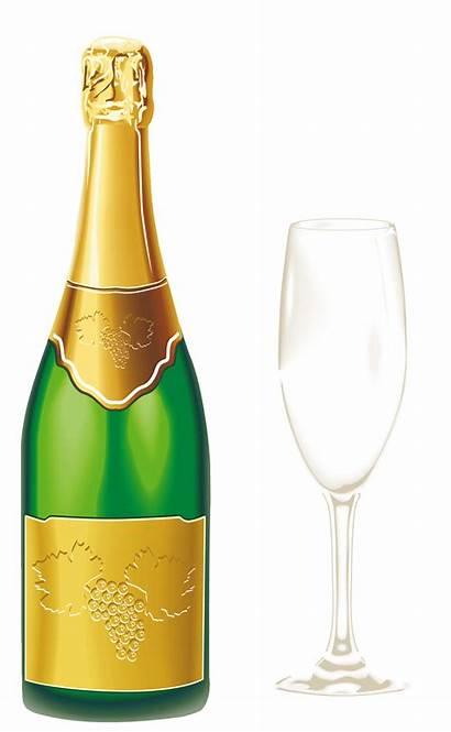 Champagne Glass Clip Bottle Clipart Wine Transparent