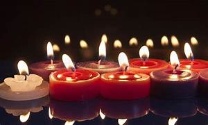 Red And White Candles On A Black Background Stock Photo ...