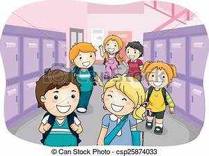 Students Walking in Hallway Clipart (9+)