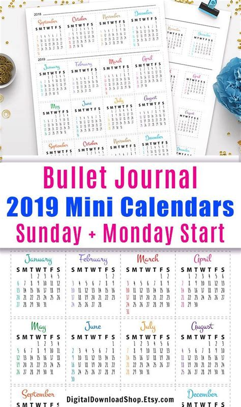bullet journal mini calendars  future log bullet