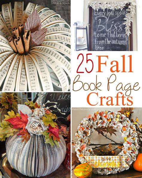 25 Fall Book Page Crafts The Scrap Shoppe