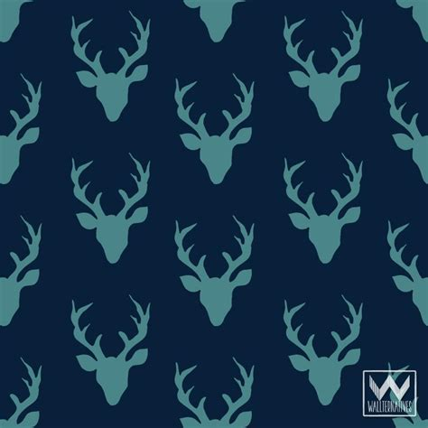 Teal Blue Living Room Decor by Deer Antlers Pattern On Removable Wallpaper From Bonnie